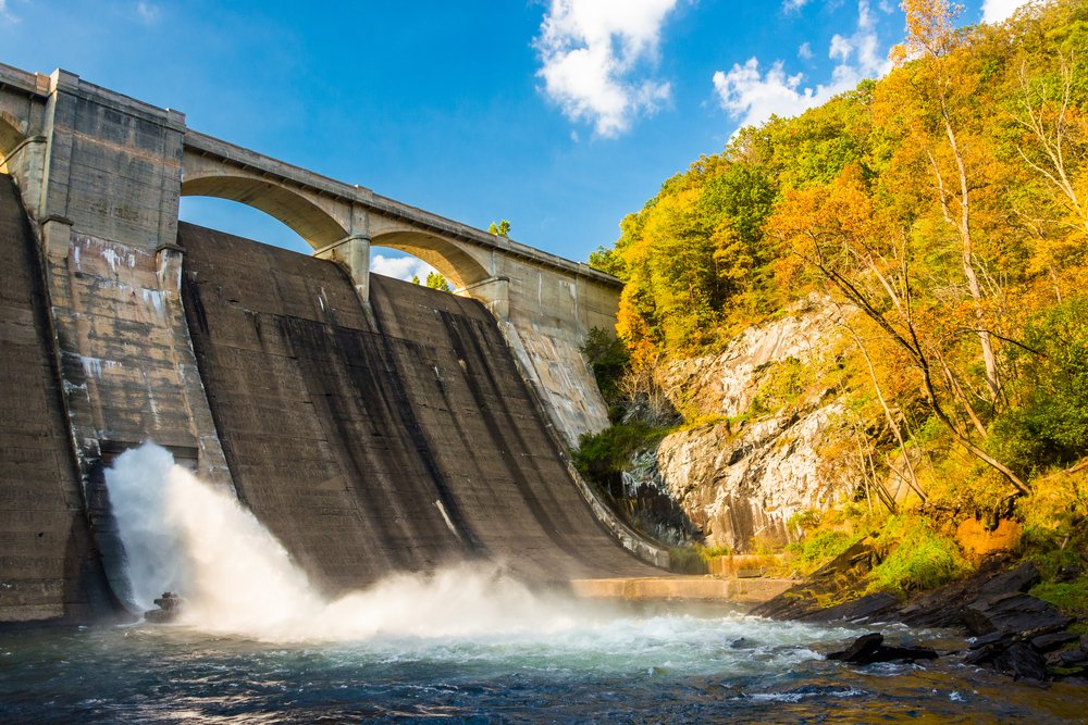 Early autumn color and Prettyboy Dam, on the Gunpowder River in Baltimore County, Maryland.